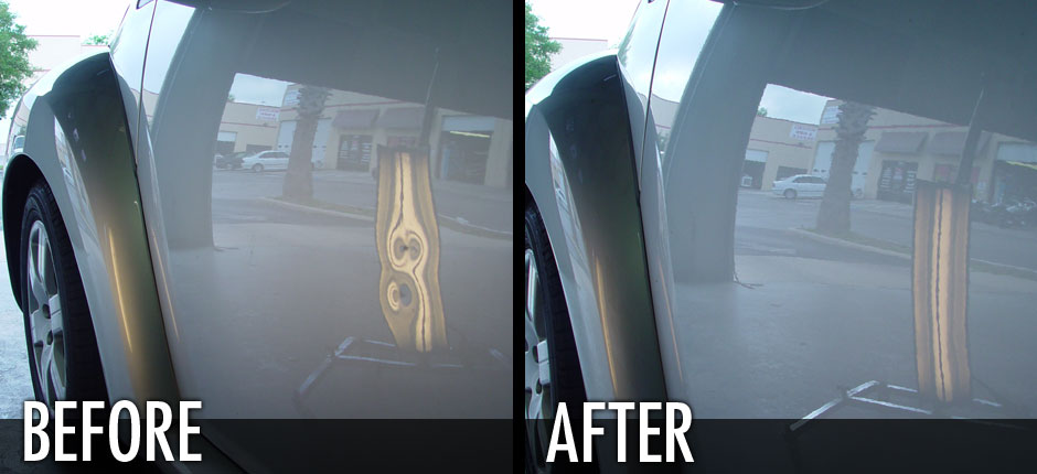 VW Bug Door Ding Before and After Pic