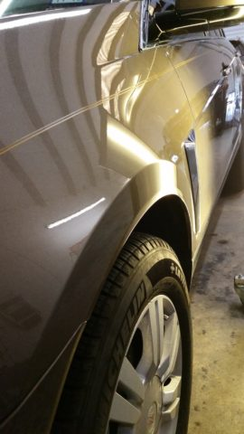 Cadillac fender dent removed